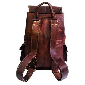 "20"" Genuine Leather Retro Rucksack Backpack College Bag,school Picnic Bag Travel"