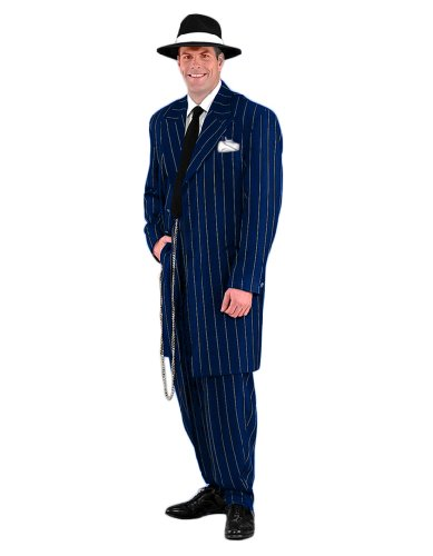 Men's Deluxe Gangster Zoot Suit Theater Quality Costume, Blue, (Deluxe Zoot Suit)