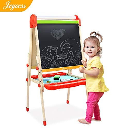 Joyooss Kids Wooden Easel with Paper Roll - Adjustable Height Magnetic Double Sided Kids Art Easel Whiteboard & Chalkboard Dry Easel Drawing Board for 2-8 Years Toddlers Children Painting ()
