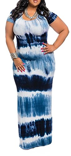 Ladies Elegant Tie Dye Printing Striped Empire Wiast Long Maxi Dress Navy Blue 3XL