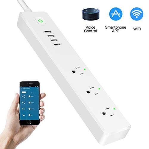 WiFi Power Strip Smart Surge Protector Compatible with Alexa/Google Home 3 AC Wireless Outlets (90-264V/15A) APP Individually Remote Control Smart Plug with Long Extension Cord No Hub Required Timer