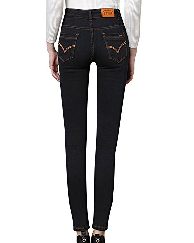 Jean Taille Jeans en Pantalon Skinny Femme Jeans Noir Haute fZwqRFwn