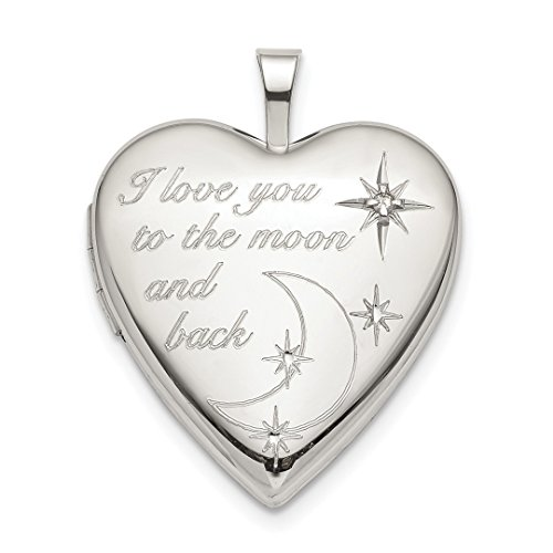 925 Sterling Silver 20mm Love To The Moon Diamond Heart Photo Pendant Charm Locket Chain Necklace That Holds Pictures Fine Jewelry For Women Gift Set -