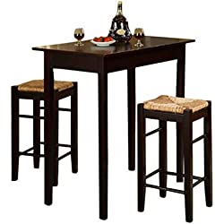 3 Piece Dinette Set Kitchen Pub Dining Table And Chairs Furniture Espresso