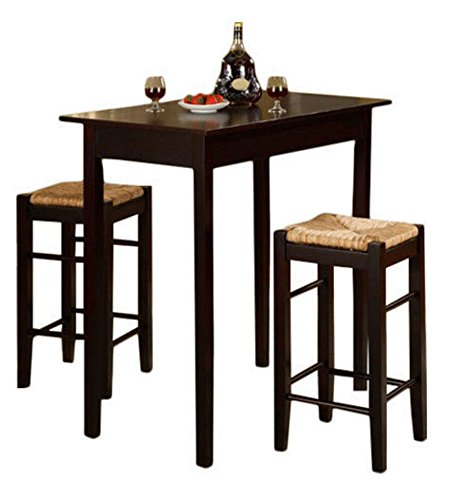 3 piece dinette set kitchen pub dining table and chairs furniture espresso - Small Dinette Sets