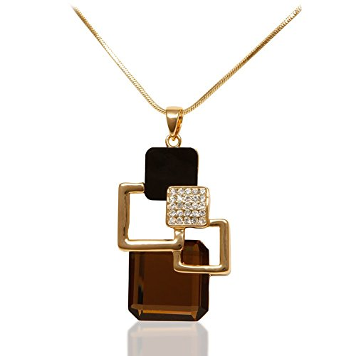 Women's 18K Gold Plated Necklace With Austrian Crystal Geometric - Glasses Cheap Coach