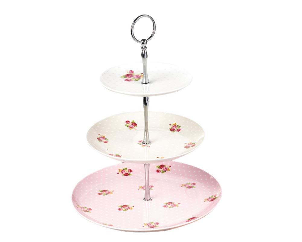 B.Hamster Cupcake Stands Elegant Embossed 3-tier Ceramic Cake Stand, Cupcake Stand, Tea Party Pastry Serving platter, Food Display, Home Decor, Dessert Stand in Gift Box (CakeStand=Pink Dot)
