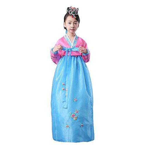 Ez-sofei Girls Korean Traditional Costumes Hanbok 140 Pink&Blue