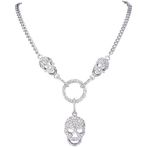 (EVER FAITH 3 Skull Circle Pendant Necklace with Clear Austrian Crystal)