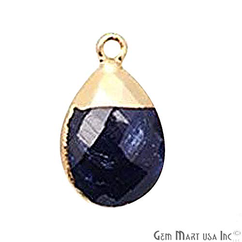 Pear Single Pear Sapphire - GemMartUSA Sapphire Connector Pears Shape Bezel Connector 12x16mm Gold Electroplated Single Bail (SGH-10086)