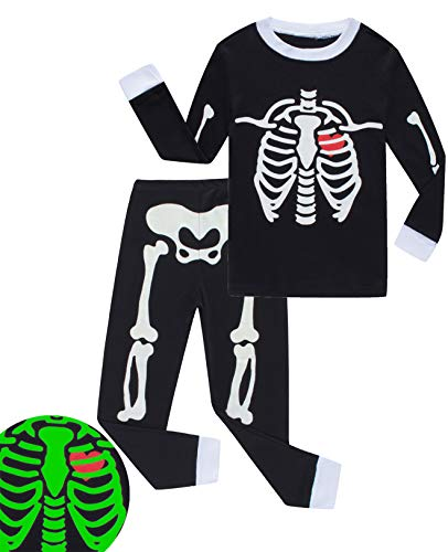 Babyroom Boys Cotton 2 Piece Halloween Skeleton Glow in thedark Costumes Toddler Pjs 6T -