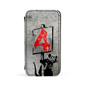 Banksy Rat with Sign Premium Faux PU Leather Case, Protective Hard Cover Flip Case for Apple? iPhone 4 / 4s by Banksy + FREE Crystal Clear Screen Protector