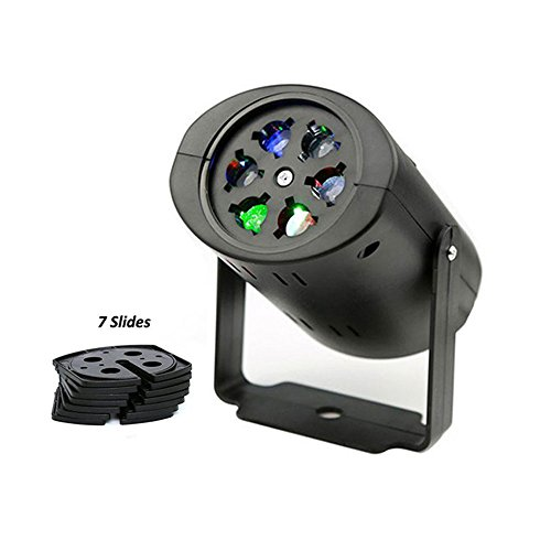 Rotating RGBW Projection LED Light, 7PCS Switchable Lens Stage Lighting Lamp Landscape Projector for Christmas, Halloween, Holiday, Birthday, Valentine's Day, Wedding, Party, Kids Room (LED)