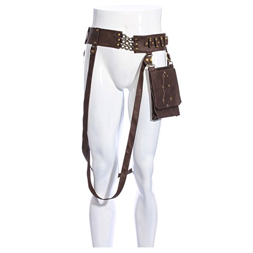 Unisex Faux Leather Steampunk Belt Harness with Pouch (One Size (Adjustable))