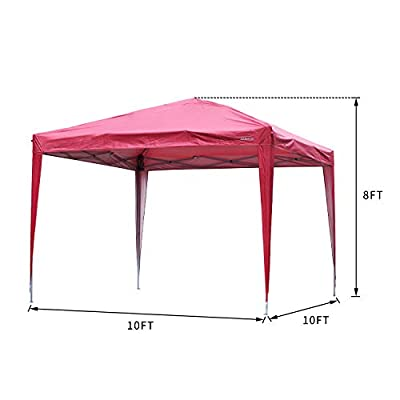 GDY 10'x10' Outdoor Canopy Tent, Commercial Instant Gazebos, Portable Shelter Canopies (Red-Black) : Garden & Outdoor