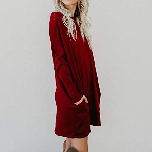 Robe Vtements Manches Col Vintage Chemisier Maille Automne Mode Mode Party Robe Elgante Mini Loisir Jeune Winered Robe en Longues Rond Large Robe Femme Robe De Hiver Fille WUW67zAq