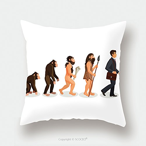 Custom Satin Pillowcase Protector From Ape To Man Standing Process Isolated Illustration Of Human Evolution From Ancient Times Till 537280867 Pillow Case Covers Decorative Ancient Mali Futon Cover