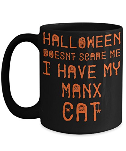 Halloween Manx Cat Mug - White 11oz Ceramic Tea Coffee Cup - Perfect For Travel And Gifts -