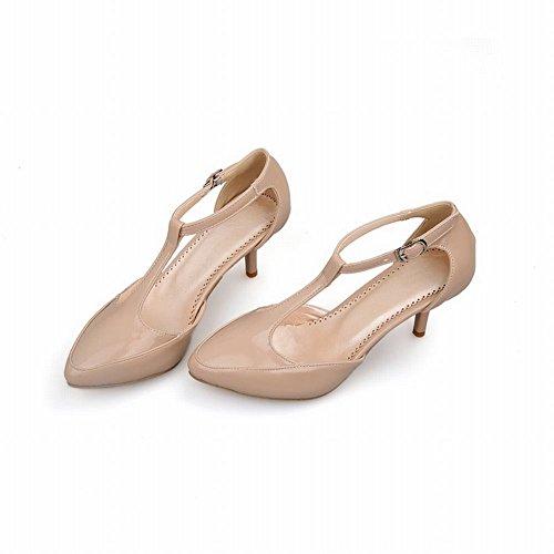 Mee Shoes Damen modern elegant spitz Schnalle ankle strap t-strap Lackleder Kitten-Heel Knöchelriemchen Pumps Aprikose