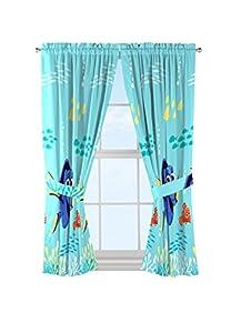 Disney/Pixar Finding Dory U0027Swim Finsu0027 Blue Microfiber Curtains With Tie  Backs 4 Piece Set