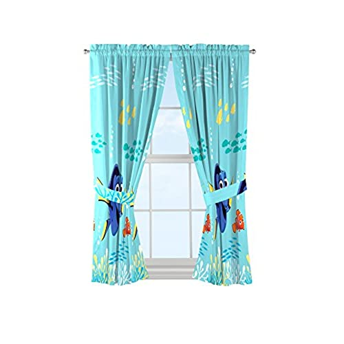 Disney Pixar Finding Dory Swim Fins Blue Microfiber Curtains With Tie Backs 4 Piece Set