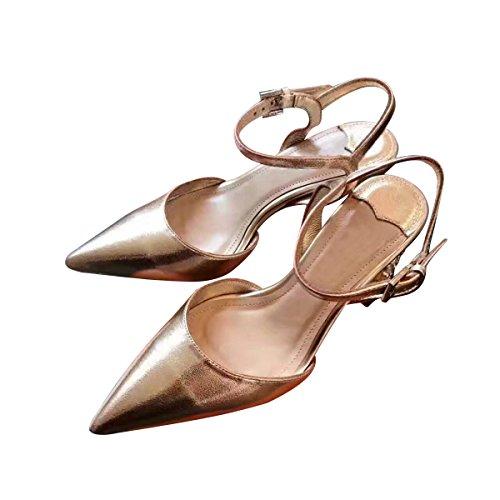 Spitzezehe Starke Ferse Strass Schuhe Gold