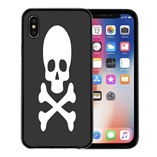 (Semtomn Phone Case for Apple iPhone Xs case,Poison Skull Crossbones on Simple Pirate Danger Death Silhouette for iPhone X Case,Rubber Border Protective)
