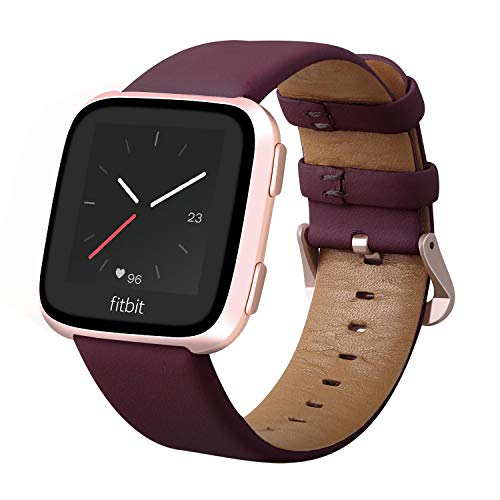 KADES Compatible for Fitbit Versa Band, Classic Genuine Leather Strap with Quick Release Pin Compatible for Fitbit Versa Smart Watch, 5.5-7.6, Wine Red
