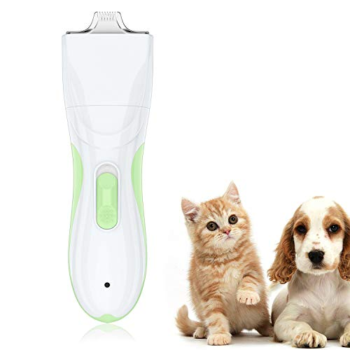 TURN RAISE Dog Grooming Clipper Washable Dog Shaver Clippers Low Noise Rechargeable Electric Quiet Dog Hair Clipper with Detachable Ceramic Blade for Dogs and Cats, Eyes, Face, Ears, Paw, Around Rump