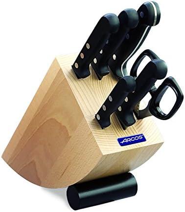 Arcos Serie Universal Juego de Cuchillos de 6 piezas en Caja de Regalo (5 Cuchillos + 1 Tijeras) + 610600 Afilador con mango
