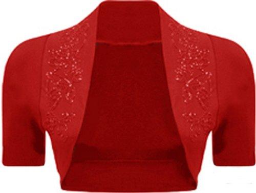 New Womens Plus Size Sequines Beaded Short Sleeve Shrug Shirt Top 8-26 ( Red , UK 12-14 / EU 40-42 )