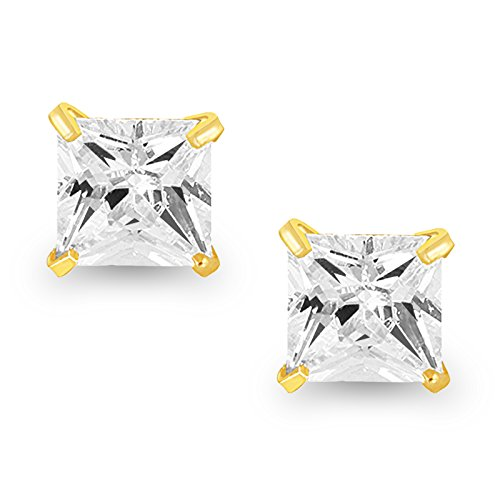 Fasherati Square Solitaire Stud Earrings for Girls