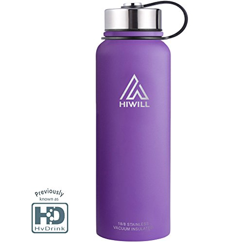 Durable Original Flavor (HvDrink Water Bottle Insulated - Cold 24 Hours Hot 12 Hours - 21 OZ - 50 OZ, Stainless Steel Wide Mouth Vacuum Thermos with Medal Strainer by (Lilac, 50oz))