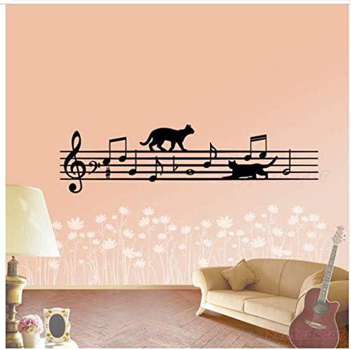 Pegatinas de pared Diseño Cat-Música-Pentagrama Vinilo Tatuajes de ...