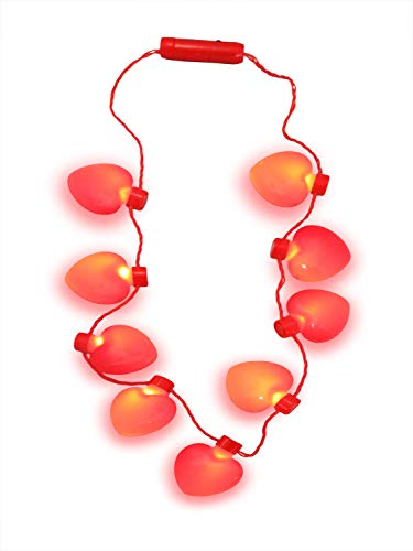 Nicky Bigs Novelties Light Up Heart Shaped Bulb Valentines Day Necklace LED Flashing Jumbo Charm (Flashing Charm)