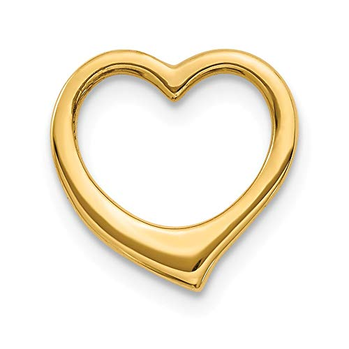 14k Yellow Gold Open Heart Slide Pendant, 10mm
