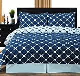 8PC Bloomingdale Navy and White King bed in a bag set Include: 3pc Duvet Cover Set +4pc Sheet Set+ 1pc Down Alternative Comforter