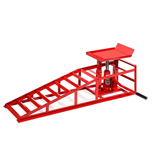 Stark Auto Ramp Low Profile Car Lift Service Ramps Truck Trailer Garage Automotive Hydraulic Lift Repair Frame (Red)