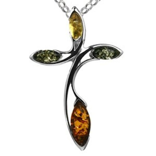 Multicolor Amber Sterling Silver Cross Pendant Rolo Chain 18
