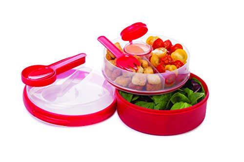 Prep Solutions by Progressive On the Go Hand Held Lunch Box/Salad Bowl - Red (Handheld Lunch Box)