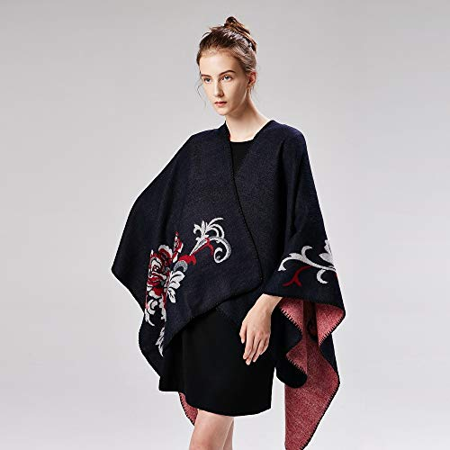 (nouler Autumn and Winter Scarf Wild Plaid Ladies Travel Poncho Imitation Cashmere National Wind Split Thick Cloak Women,Knitted Capes Wraps Cardigans Coat Scarves Stoles,Black,One)