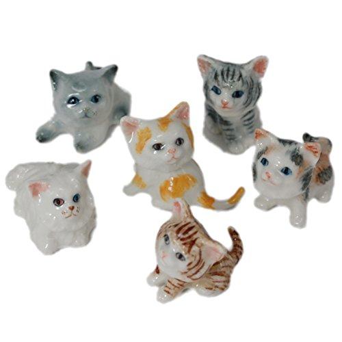 (6 Cartoon Cats Kitten Handmade Ceramic Pottery Miniature Animal Figurine (0.5)