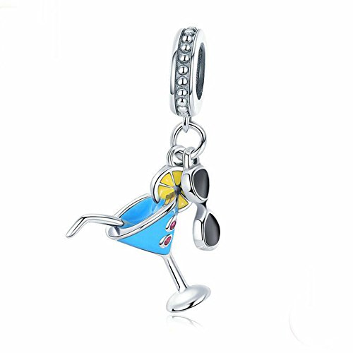 A Summer Cold Drink & Sunglasses Charm 925 Sterling Silver Lemon Charm Wine Glass Charm Beads for Fashion Charms Bracelet & ()