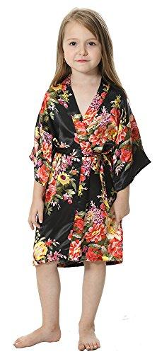 (JOYTTON Girl's Satin Floral Kimono Bathrobe Flower Girl Robe (14,Black))