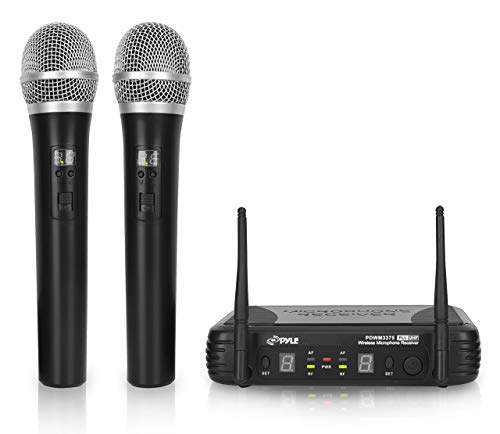 Professional Wireless Microphone System - Dual UHF Band, Wireless, Handheld, 2 MICS With 8 Selectable Frequency Channels, Independent Volume Controls, AF & RF Signal Indicators - Pyle PDWM3375