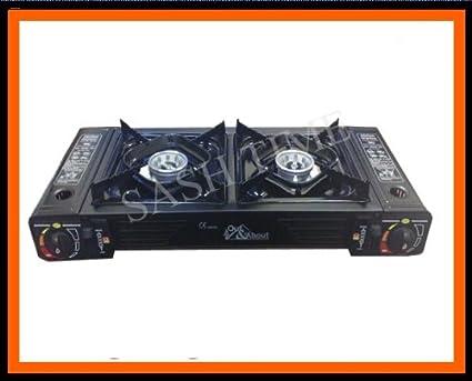 Estufa de gas portátil doble/doble de camping cocina: Amazon ...