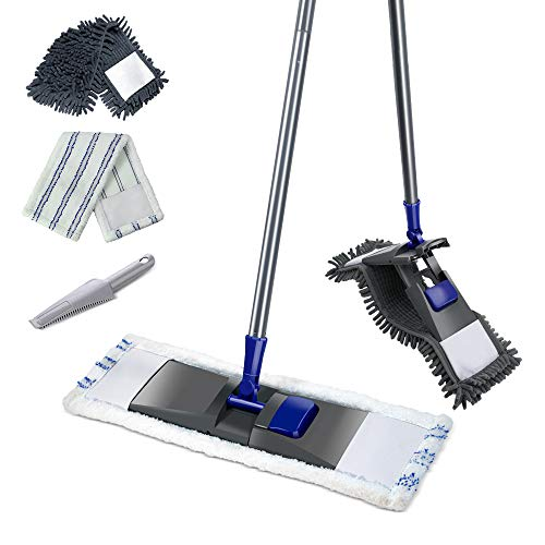 Super Absorbent Microfiber Dust Mop with Stainless Steel Telescopic Handle with 2Pcs 360° mop head for Floor cleaning