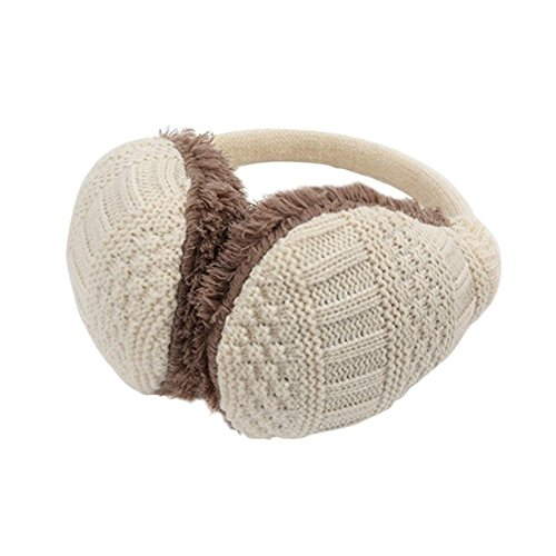 Feelme Adjustable Ear Muffs Unisex Knit Winter Warm Earmuffs Earwarmer Headband (beige)