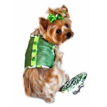Lady Bug Cool Mesh Dog Harness and Leash - Green (Medium)