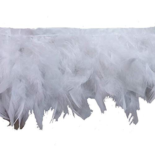 (KOLIGHT Pack of 2 Yards Natural Dyed Turkey Flakes Feathers 4~6inch Fringe Trim DIY Dress Crafts Costumes Decoration)